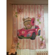 Teddy macis, autós, fényes szatén babafüggöny