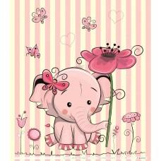 Elefántos, csíkos erős szatén babafüggöny