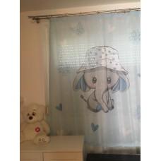 Kék Fány, elefántos muszlin babafüggöny