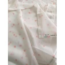 Rózsaszín pöttyös, fehér muszlin baba függöny